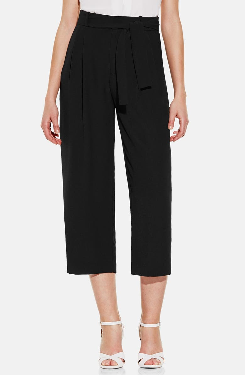 VINCE CAMUTO Belted Pleat Front Crop Pants, Main, color, 006