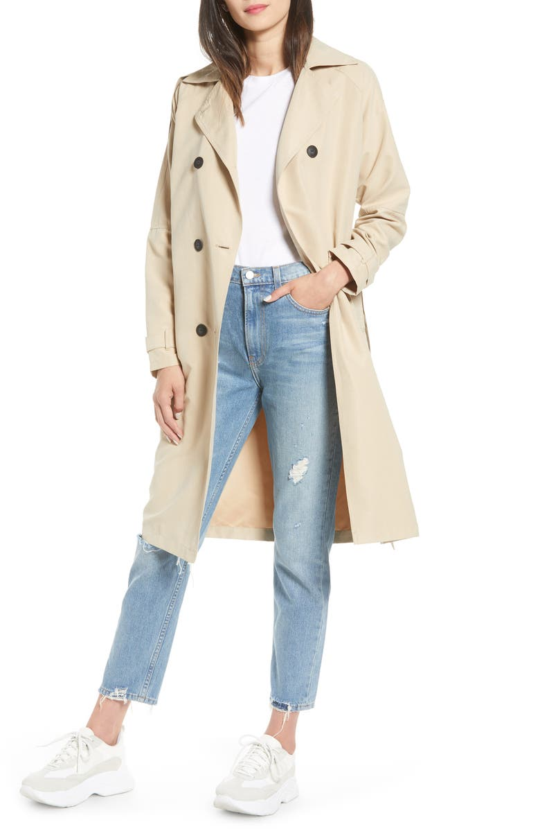 NOISY MAY Dylan Trench Coat, Main, color, WHITE PEPPER