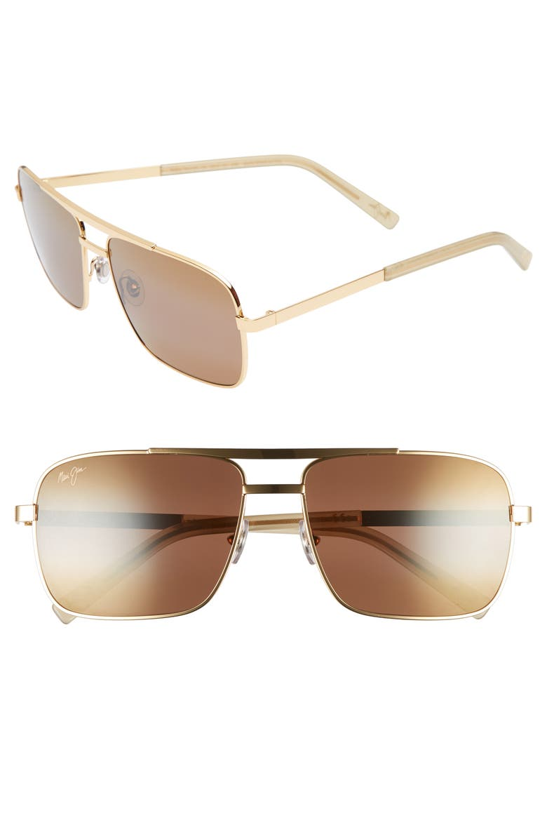 MAUI JIM Compass 60mm Polarized Aviator Sunglasses, Main, color, GOLD/ BRONZE