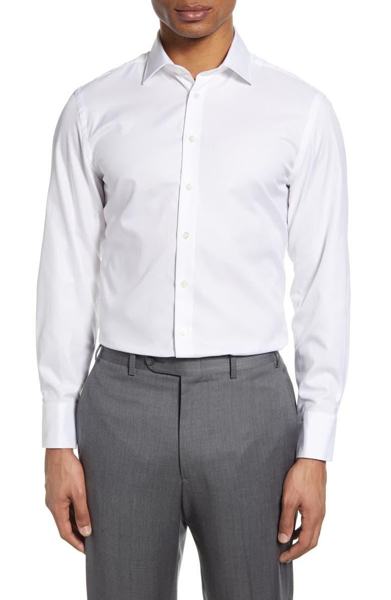 THOMAS PINK Trim Fit Royal Oxford Dress Shirt, Main, color, 100
