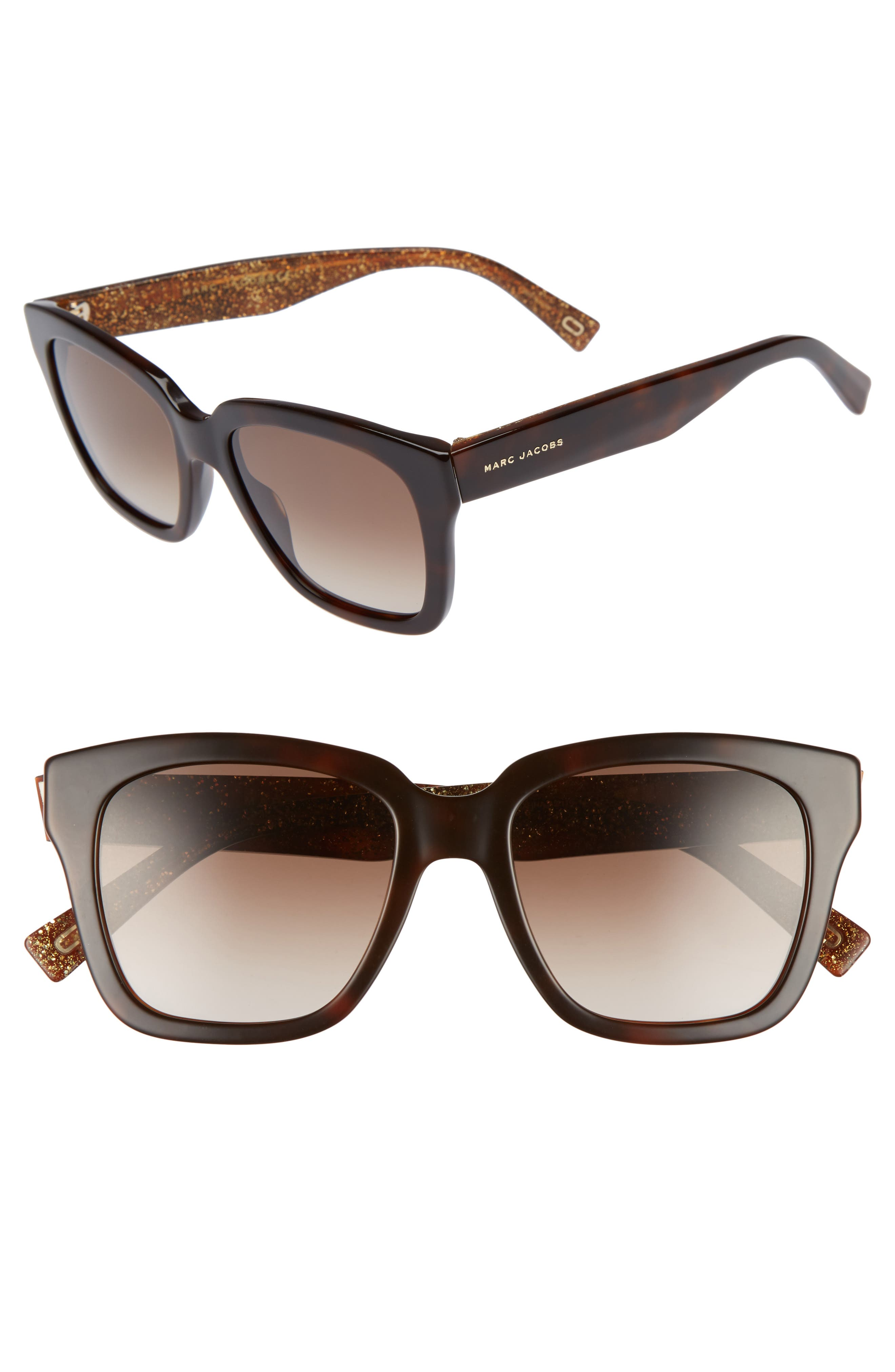 52mm Square Sunglasses, Main, color, HAVANNA BROWN/ GOLD