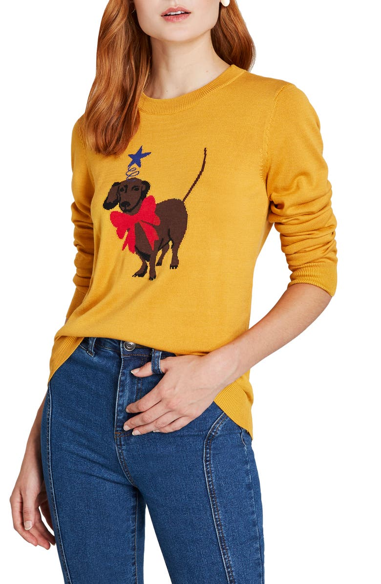 MODCLOTH Dachshund Intarsia Sweater, Main, color, 701