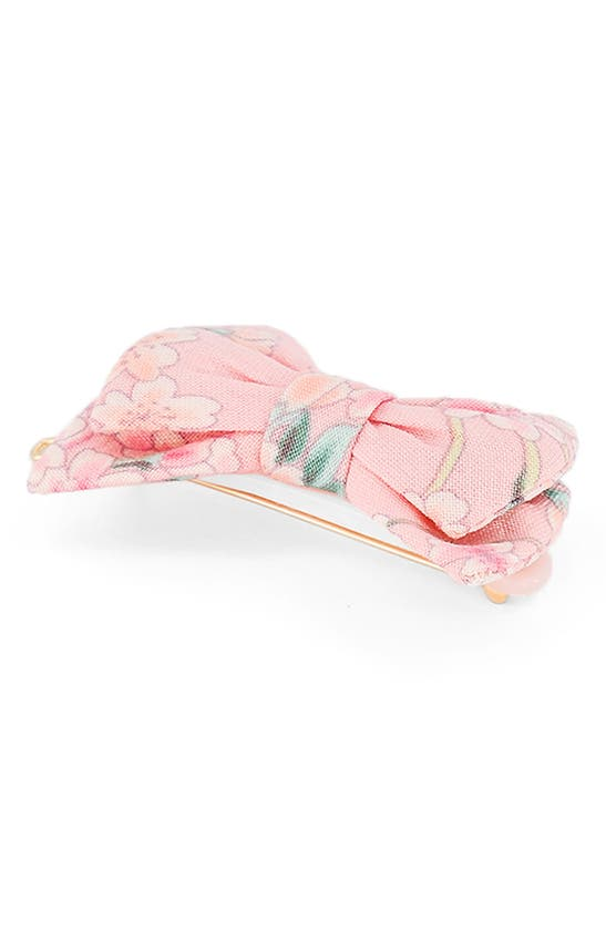 Alexandre De Paris Flowered Bow Hair Clip In Pink