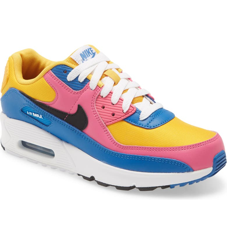 NIKE Air Max 90 Sneaker, Main, color, GOLD/ BLACK-BLUE-WHITE