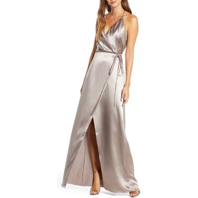Jenny Yoo Lana Crepe Back Satin Faux Wrap Evening Gown