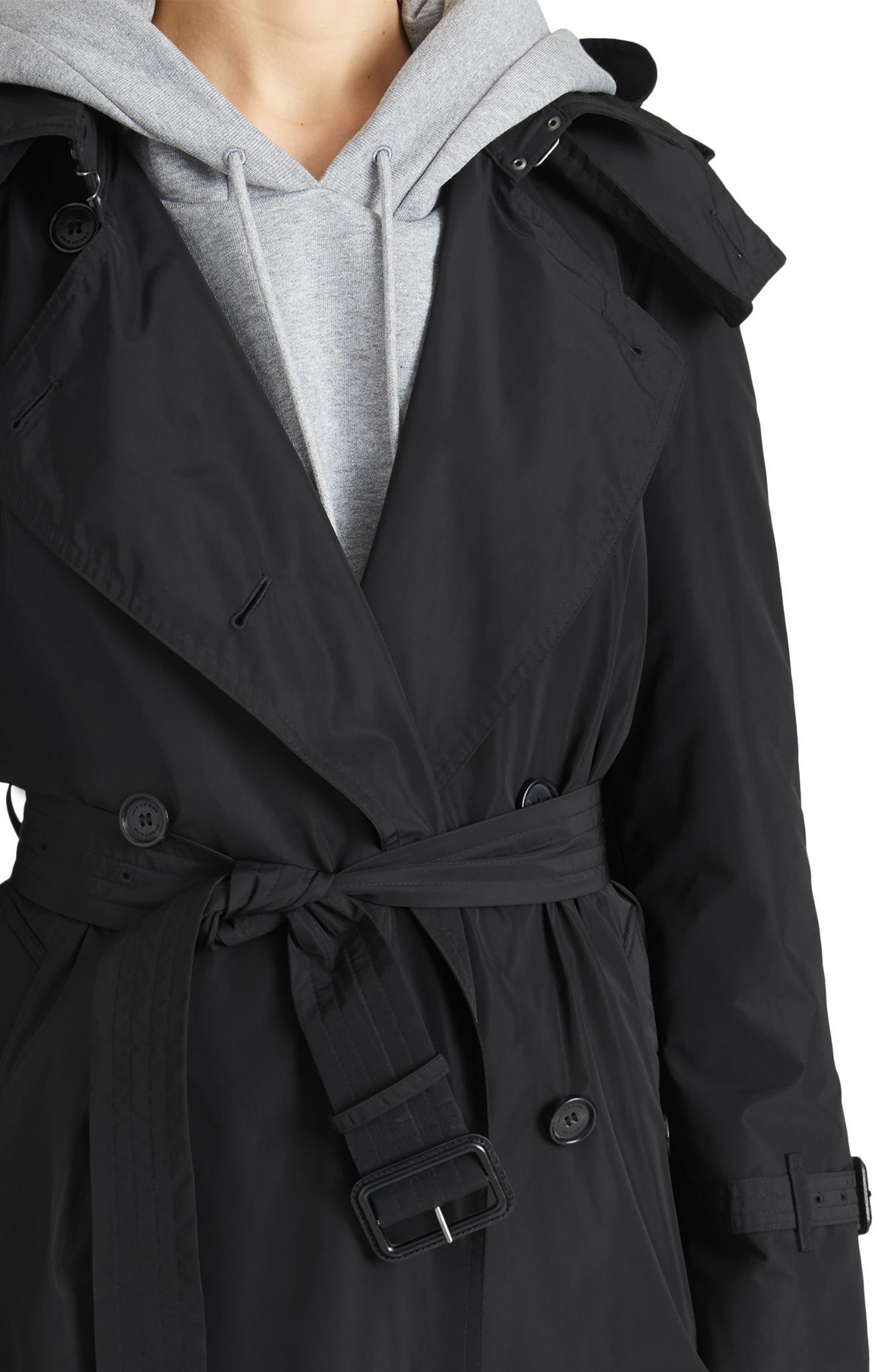,                             Amberford Taffeta Trench Coat with Detachable Hood,                             Alternate thumbnail 4, color,                             BLACK