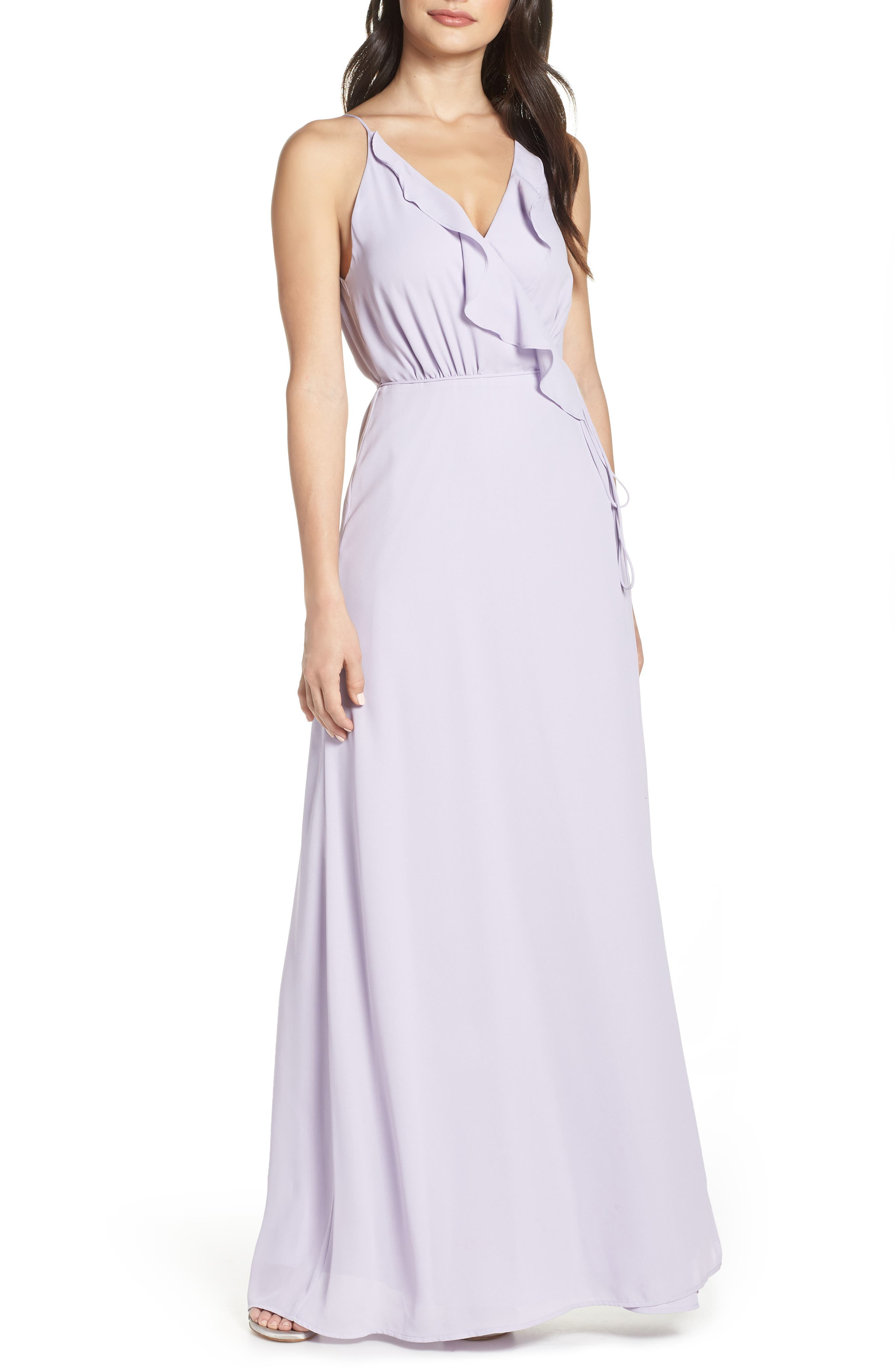 Wayf Jamie Ruffle Wrap Gown, Purple