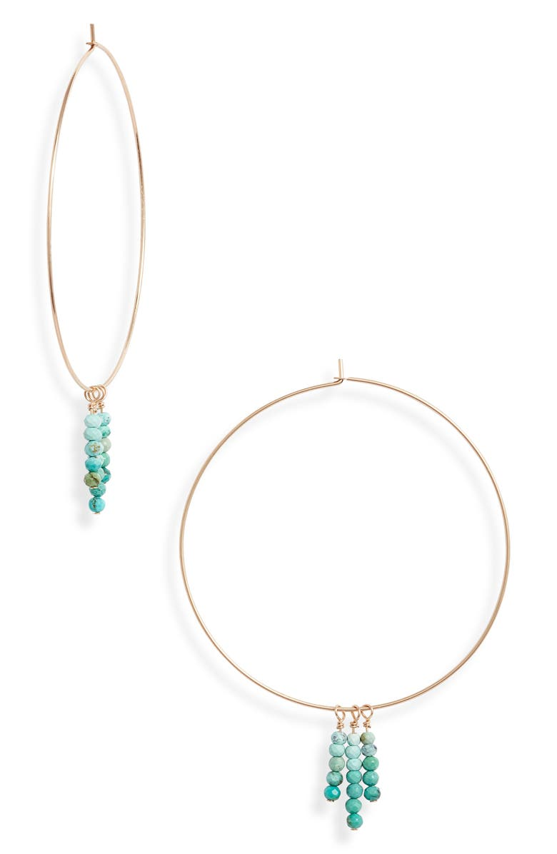 SET & STONES Jensen Hoop Earrings, Main, color, GOLD/ TURQUOISE