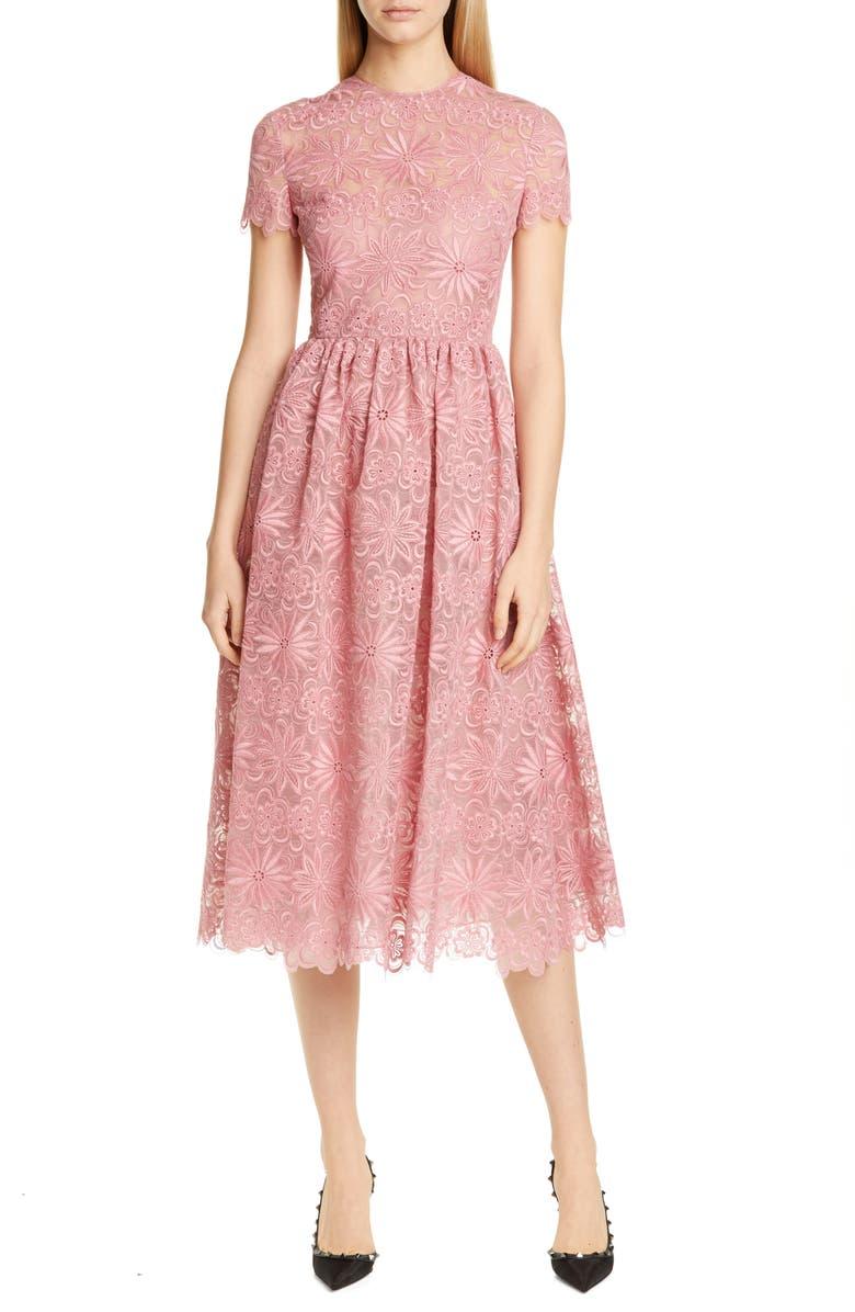 VALENTINO Floral Organza Midi Dress, Main, color, 650