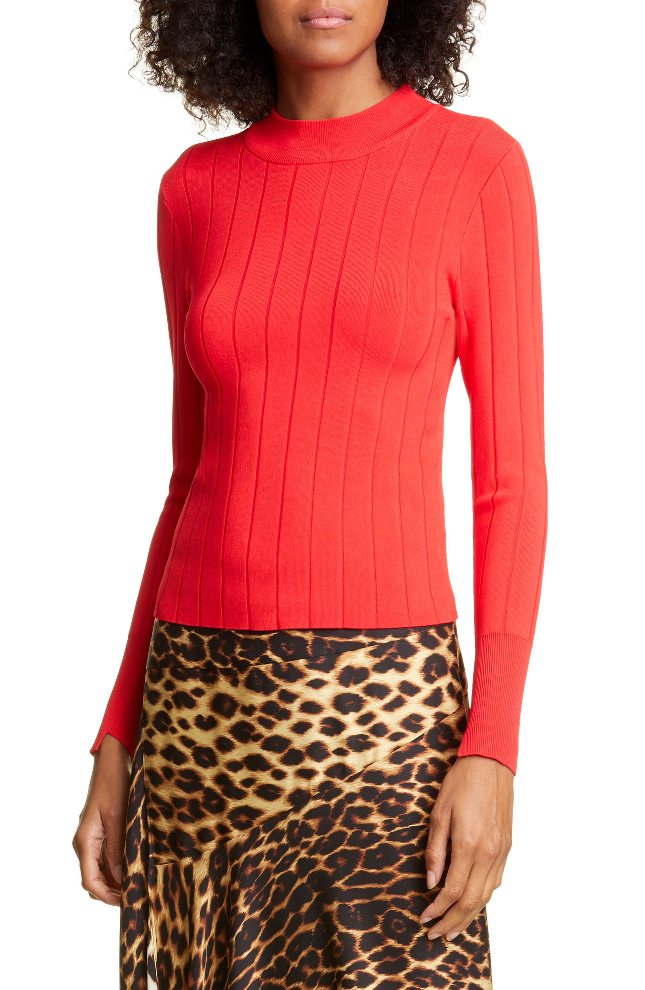 Image of A.L.C. Koko Ribbed Mock Neck Top