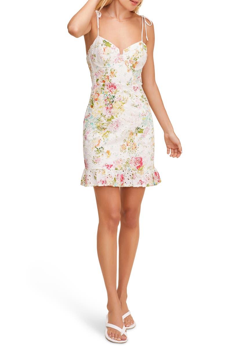 ASTR THE LABEL Mireille Floral Lace Sundress, Main, color, MULTI COLORED FLORAL