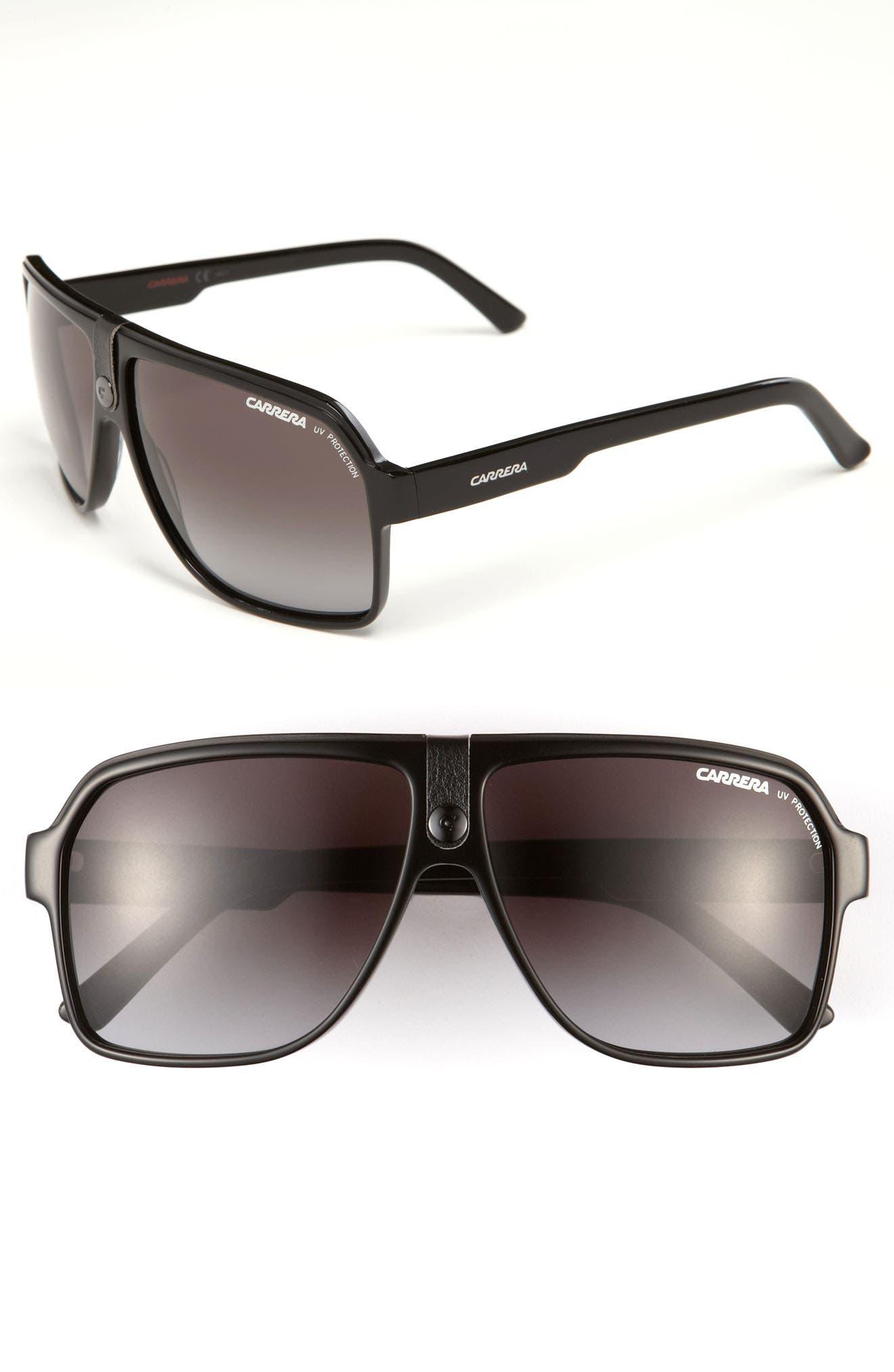 62mm Aviator Sunglasses, Main, color, BLACK