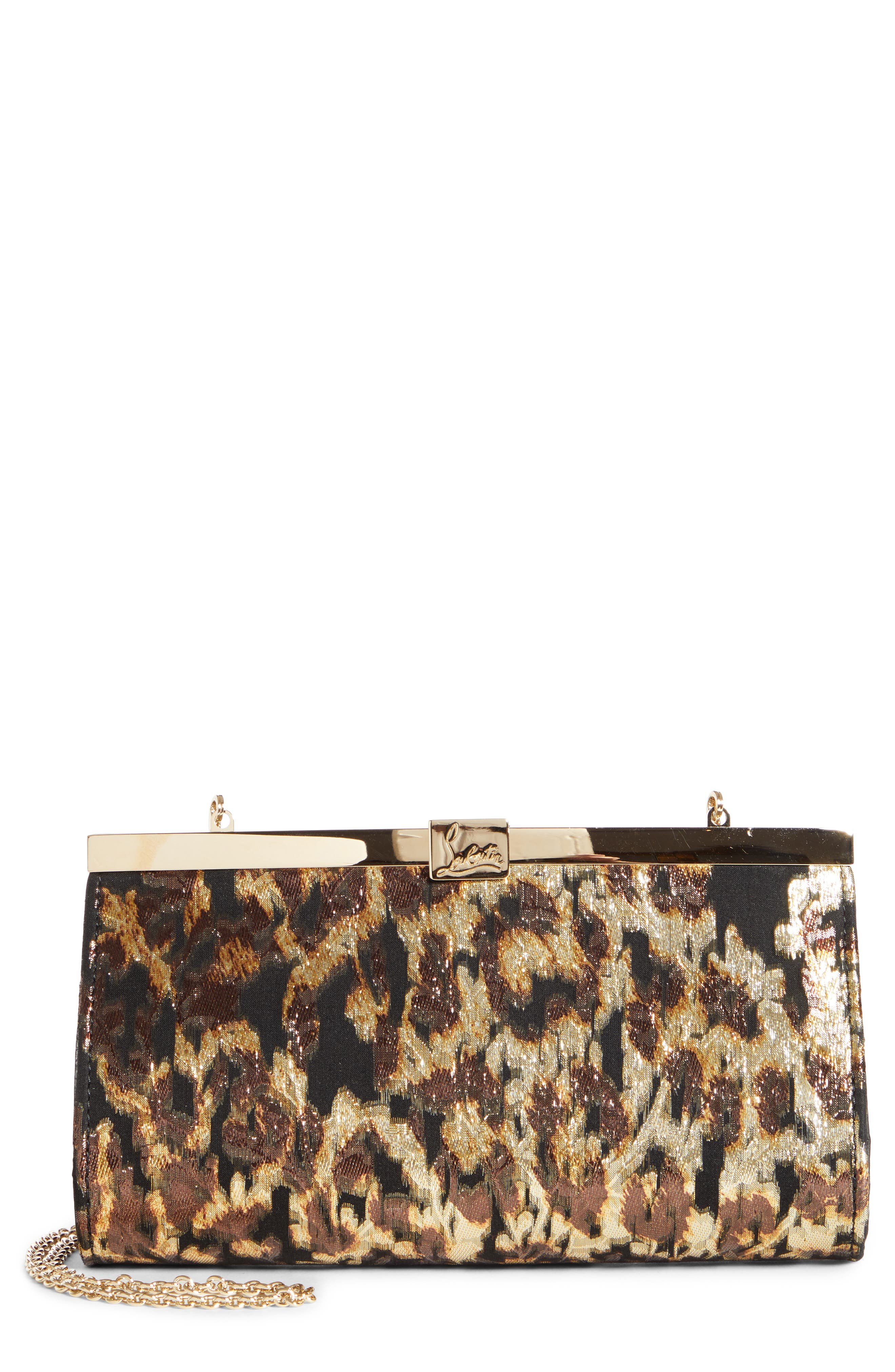 Christian Louboutin Clutch Small Palmette Metallic Leopard Print Clutch