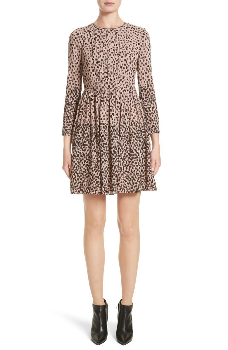 BURBERRY Karinkalt Leather Trim Print Dress, Main, color, 683