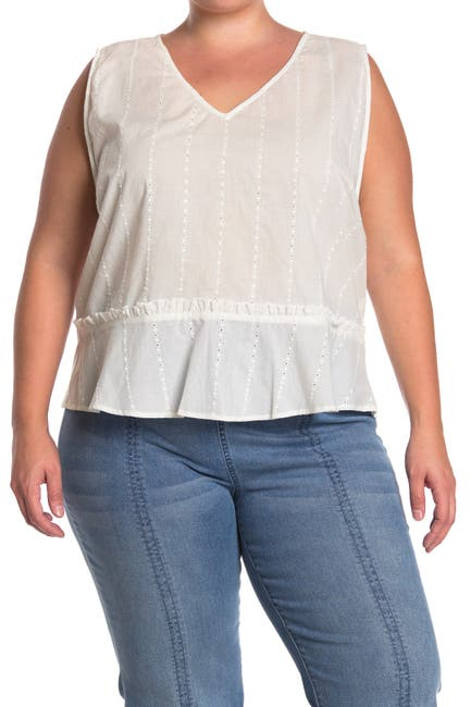 Image of 14TH PLACE V-Neck Peplum Top