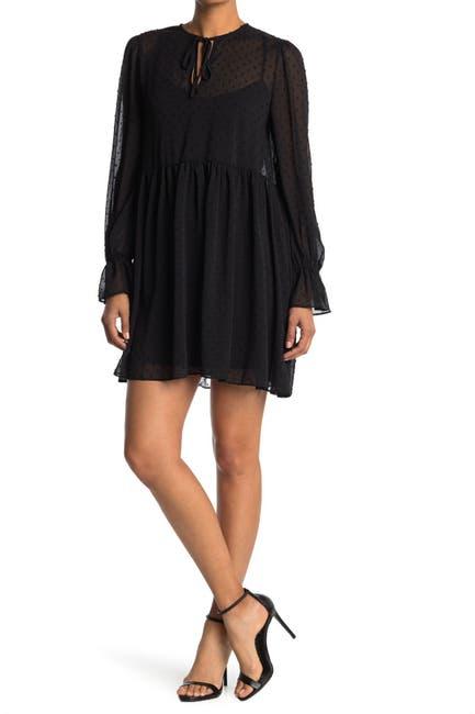Image of WAYF Tie Front Long Sleeve Mini Dress