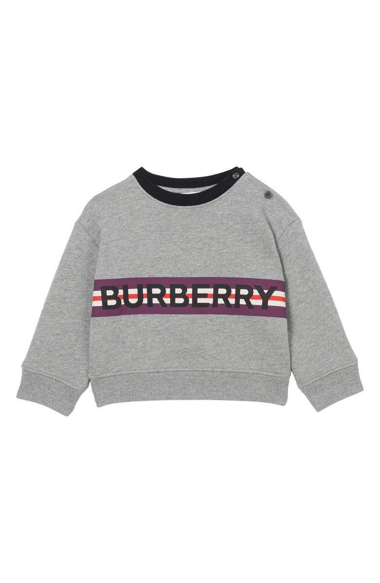 BURBERRY Marlon Logo Sweatshirt, Main, color, GREY MELANGE