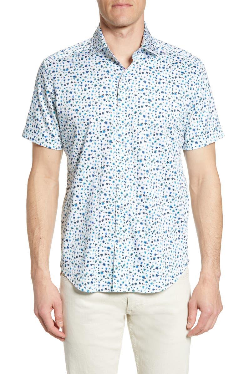 ROBERT GRAHAM Tailored Fit Mini Floral Bug Shirt, Main, color, WHITE