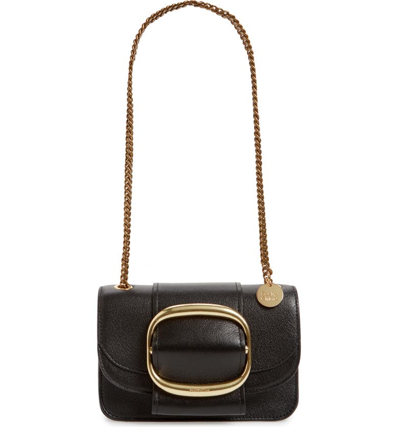 SEE BY CHLOÉ Hopper Leather Shoulder Bag, Main, color, 001