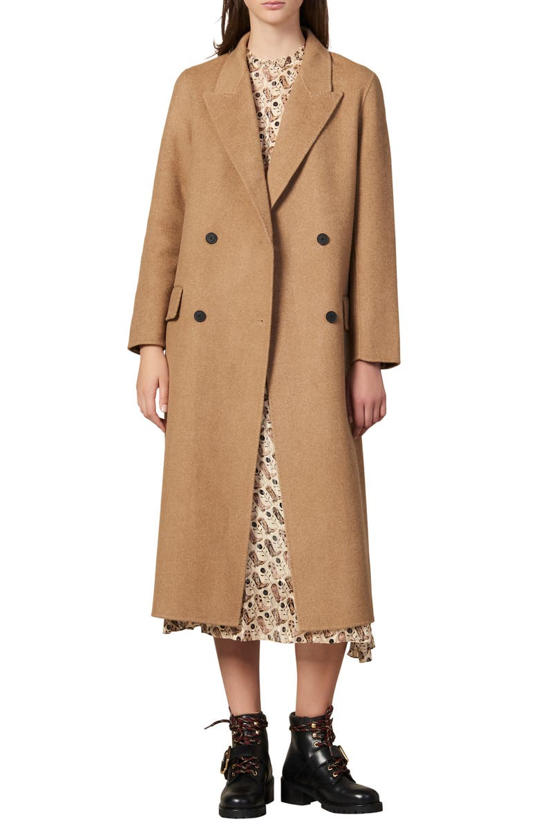 SANDRO Jims Double Breasted Wool Coat, Main, color, HEATHERED BEIGE