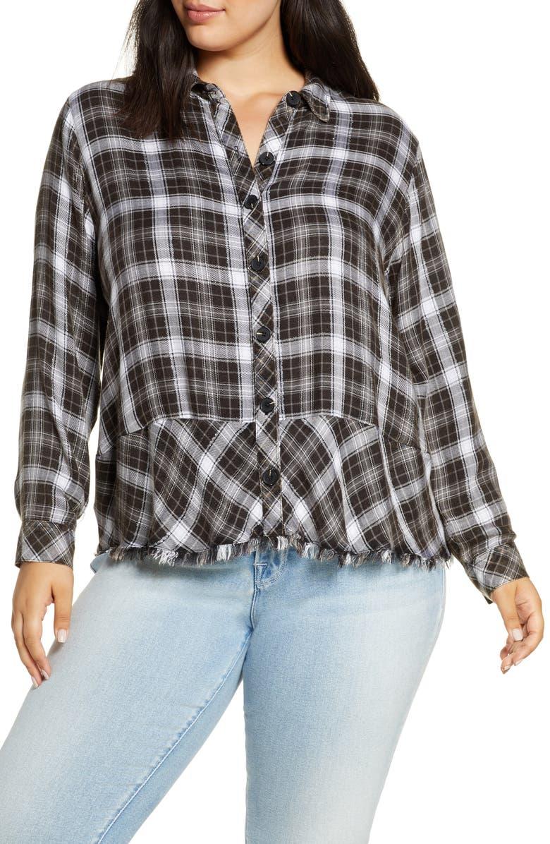 WIT & WISDOM Plaid Flounce Hem Button Up Shirt, Main, color, BLACK