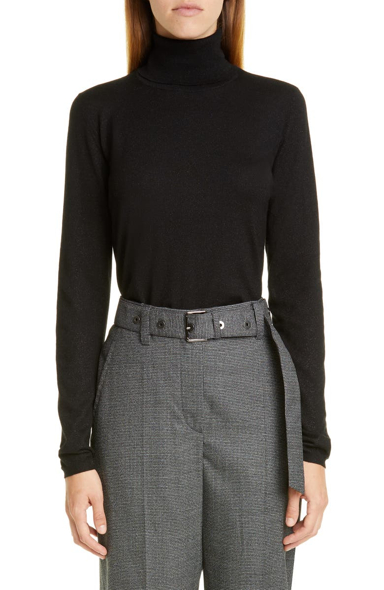 BRUNELLO CUCINELLI Metallic Turtleneck Sweater, Main, color, BLACK