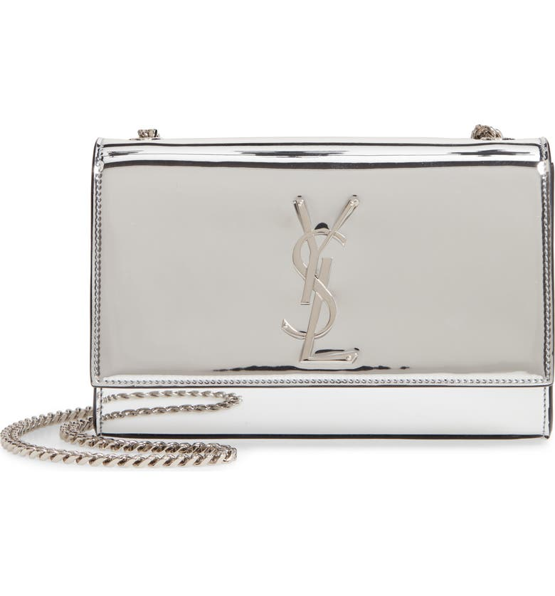 SAINT LAURENT Small Kate Mirror Crossbody Bag, Main, color, PLATINE