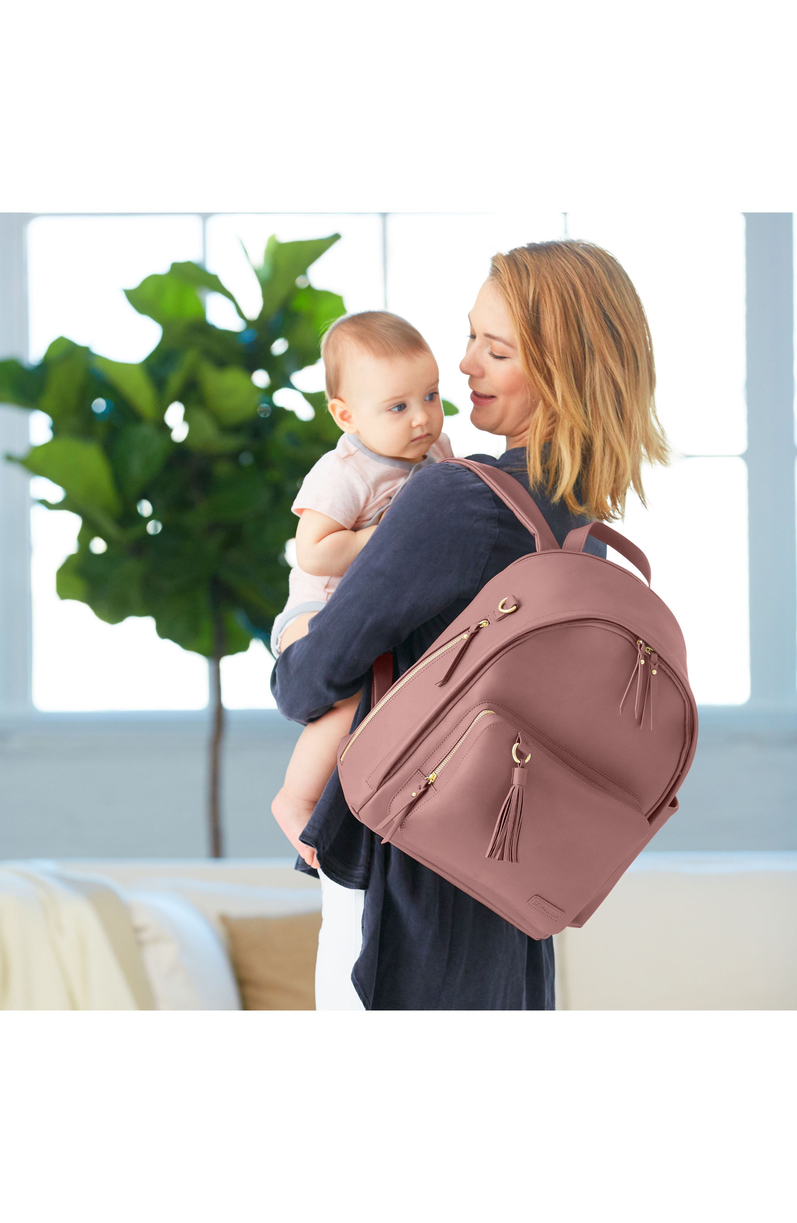 ,                             Greenwich Simply Chic Diaper Backpack,                             Alternate thumbnail 5, color,                             DUSTY ROSE