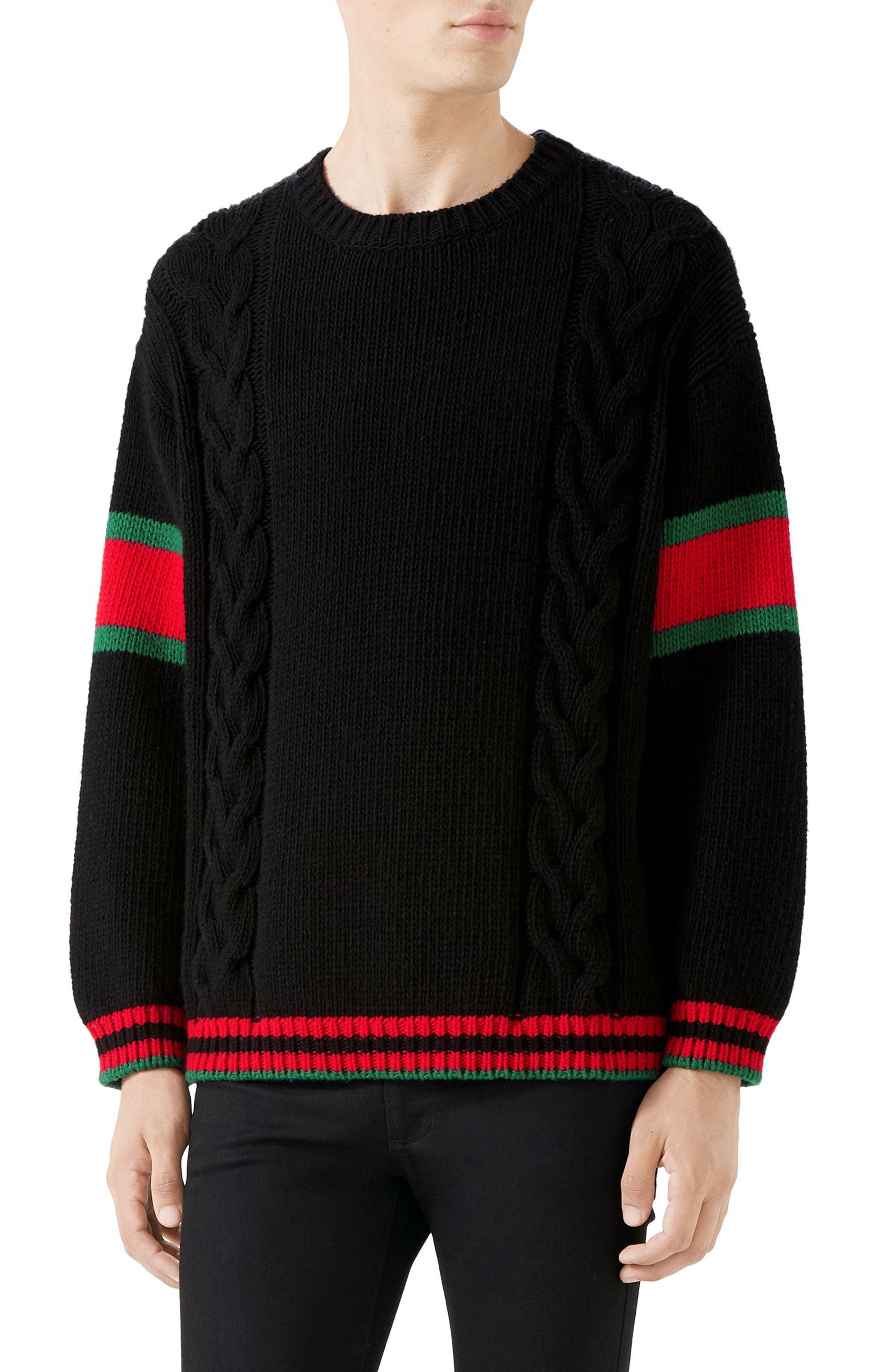 Cable Knit Wool Crewneck Sweater, Main, color, BLACK MULTI