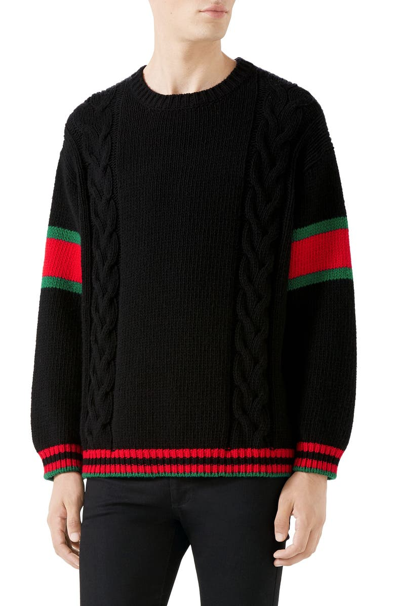 GUCCI Web Stripe Cable Knit Wool Sweater, Main, color, 001