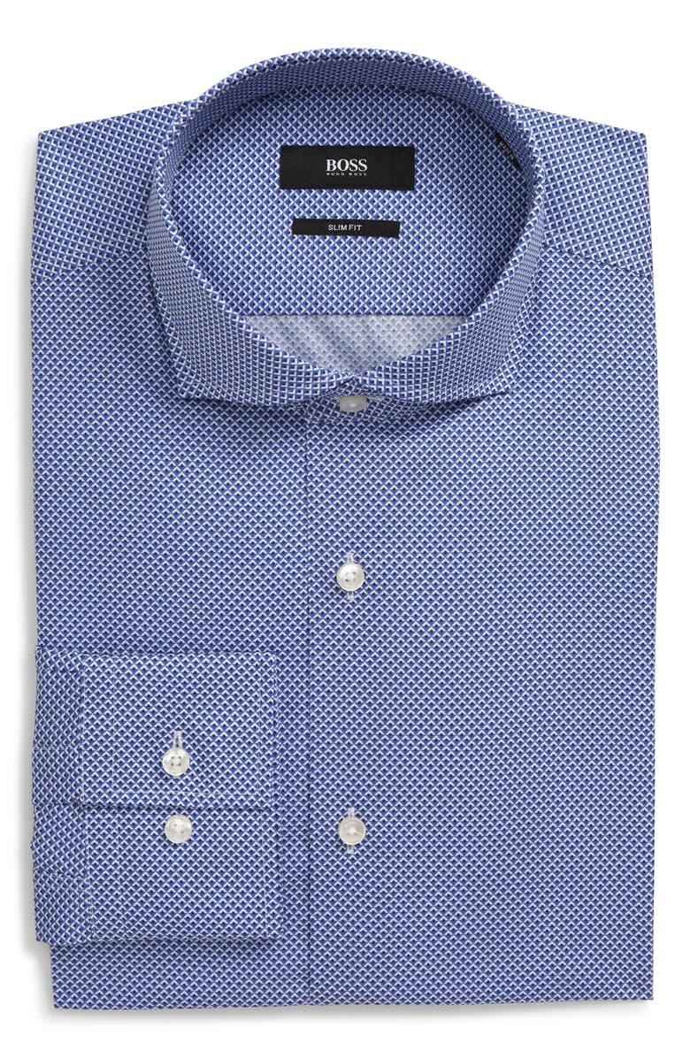 BOSS Slim Fit Print Dress Shirt, Main, color, NAVY