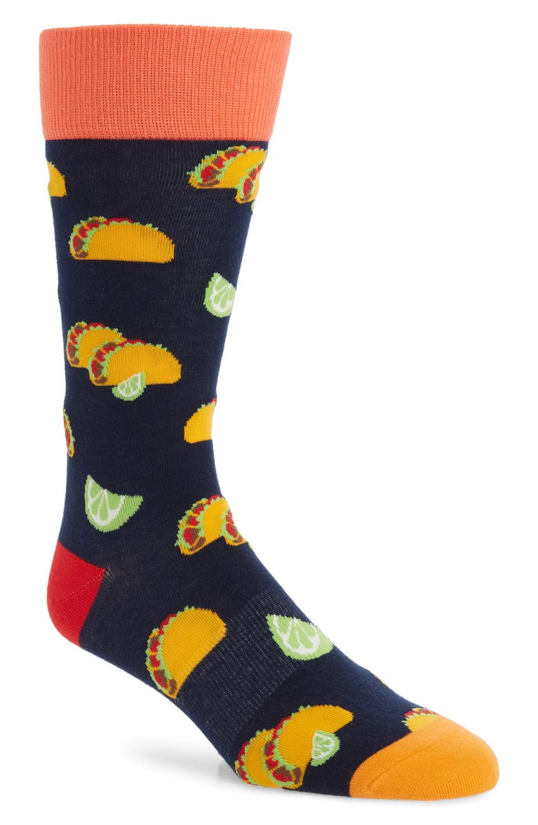 FUN SOCKS Taco Socks, Main, color, BLUE MULTI