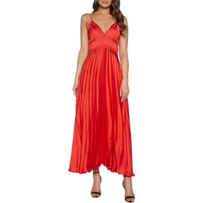 Bardot Mary Pleated Gown, Red
