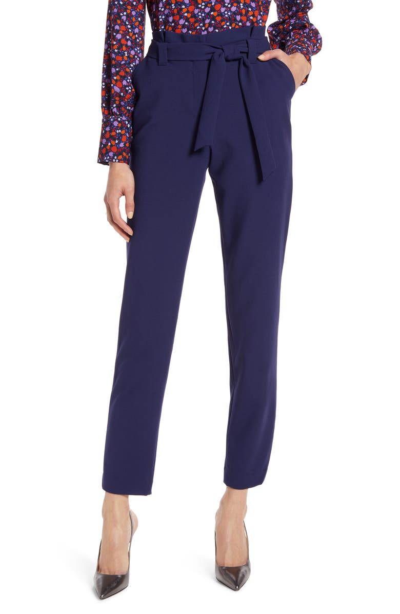 HALOGEN<SUP>®</SUP> Paperbag Waist Twill Pants, Main, color, NAVY PEACOAT