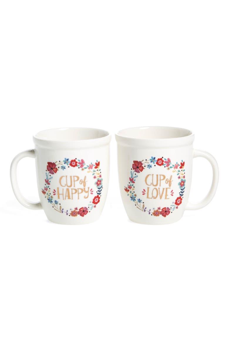 NATURAL LIFE 'Happy/Love' Ceramic Mugs, Main, color, 900