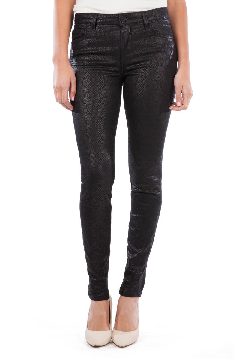 KUT FROM THE KLOTH Mia Coated Snakeskin Print High Waist Ankle Toothpick Skinny Jeans, Main, color, BLACK
