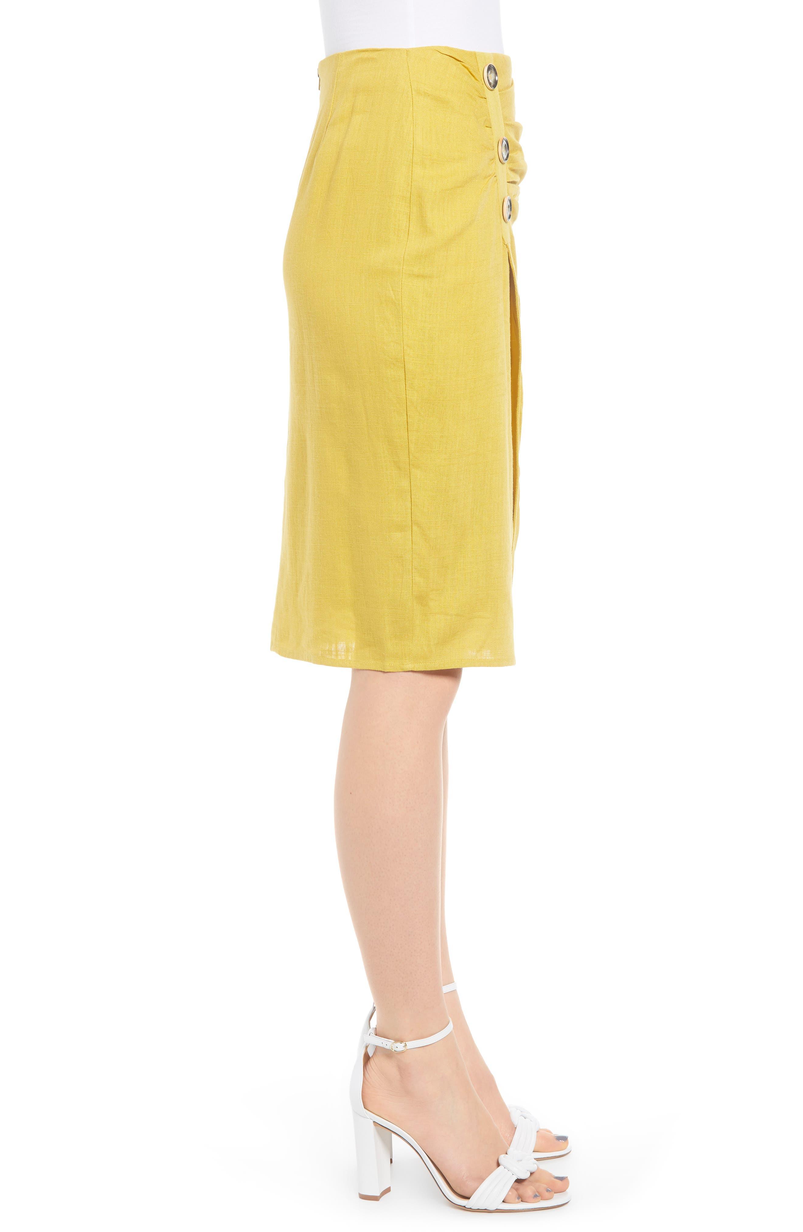 ,                             Side Button Cotton & Linen Midi Skirt,                             Alternate thumbnail 3, color,                             YELLOW