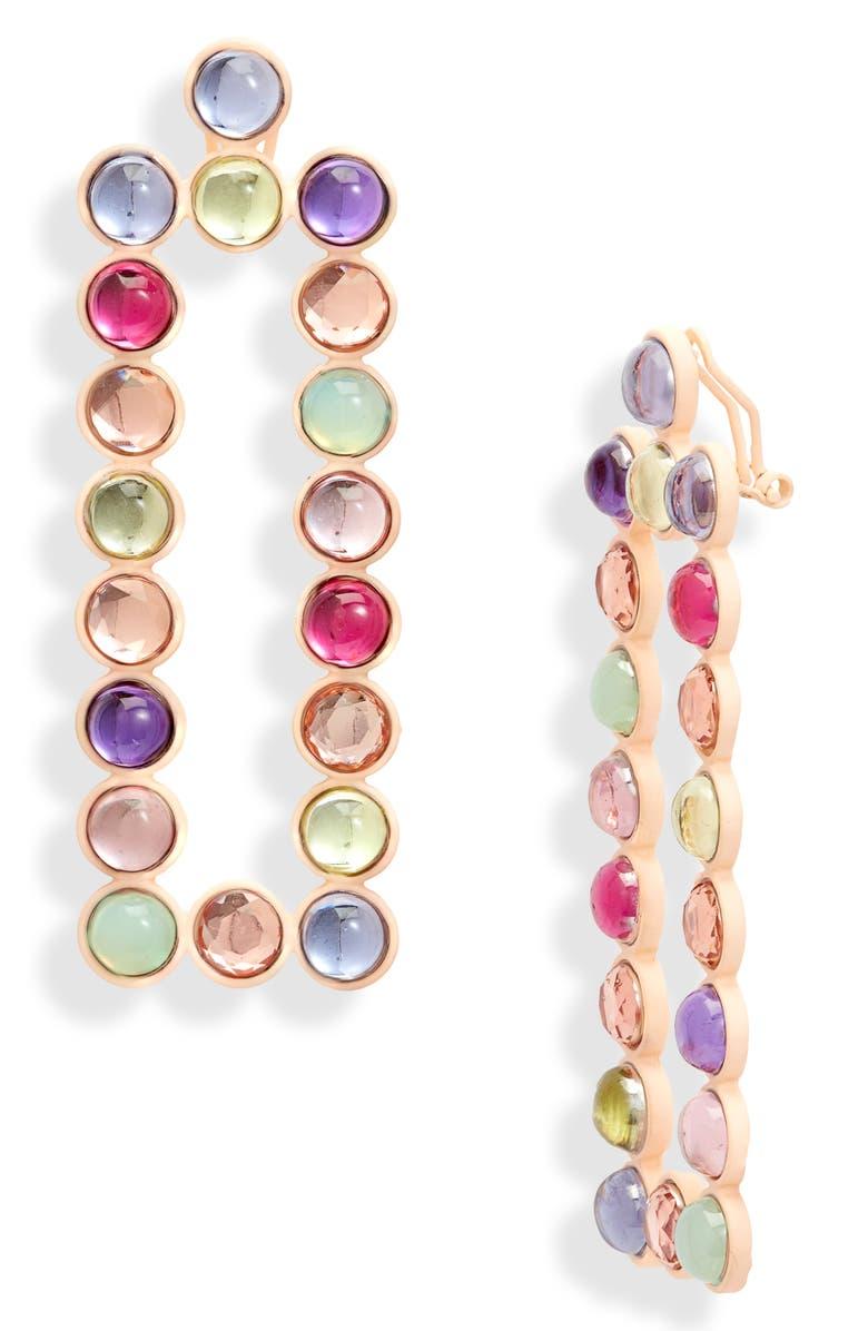 OPEN EDIT Rectangular Drop Earrings, Main, color, PINK MULTI