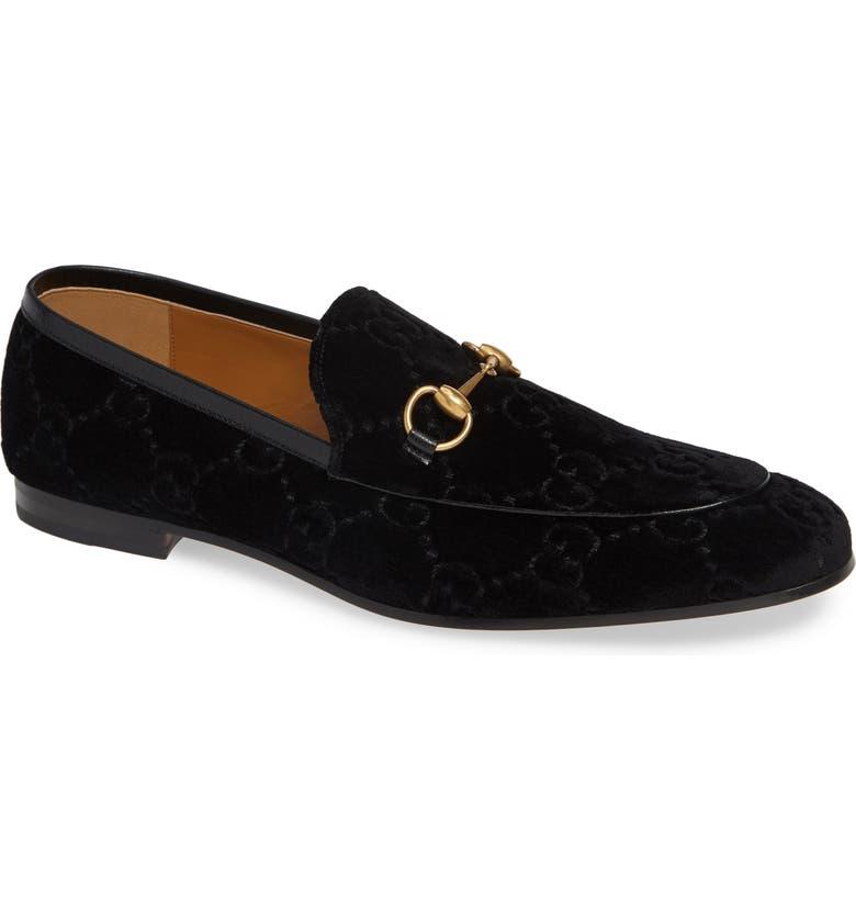 GUCCI Jordaan Horsebit GG Velvet Loafer, Main, color, NERO/ NERO
