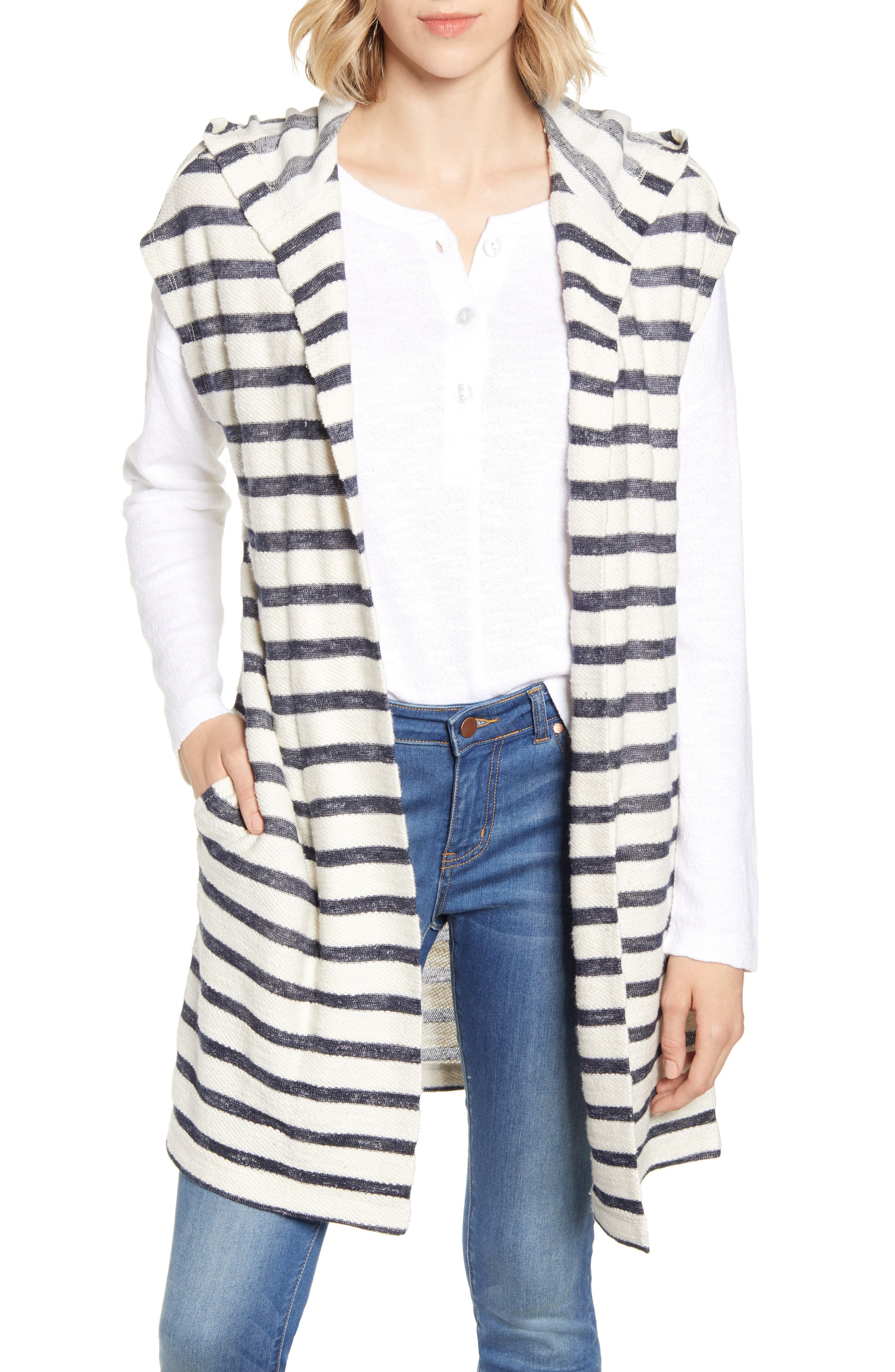 Lou & Grey Stripe Terry Hooded Cardigan, White