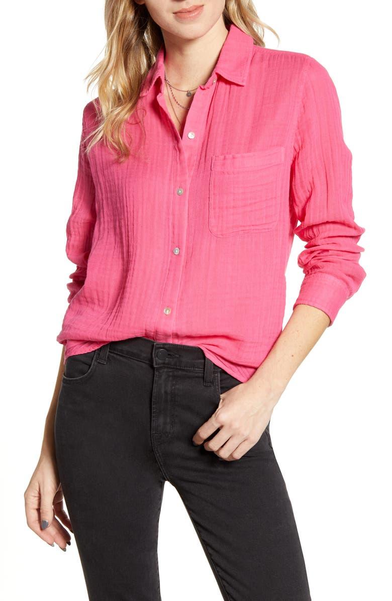 RAILS Ellis Cotton Shirt, Main, color, HIBISCUS