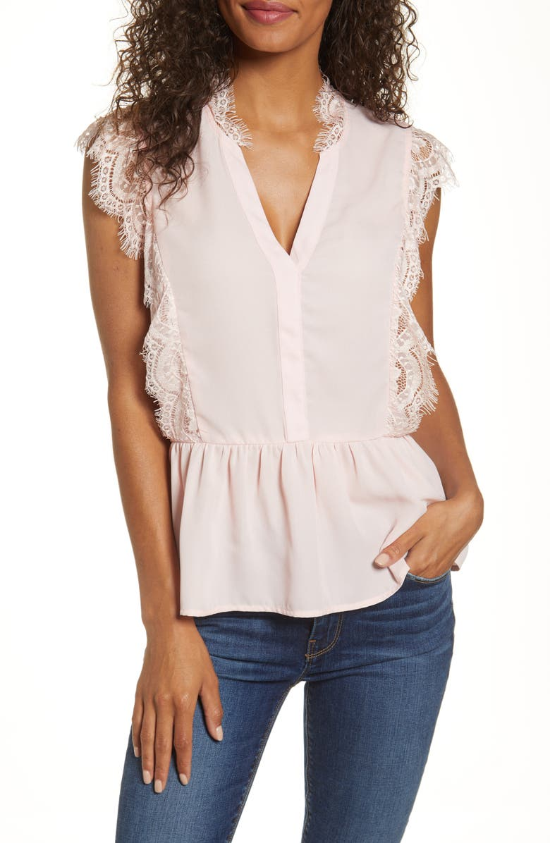 GIBSON x Fall Refresh The Motherchic Lace Trim Peplum Top, Main, color, ENGLISH ROSE