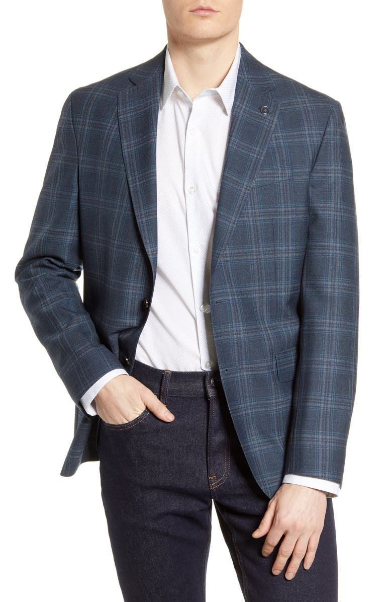 TED BAKER LONDON Konan Plaid Trim Fit Sport Coat, Main, color, TEAL