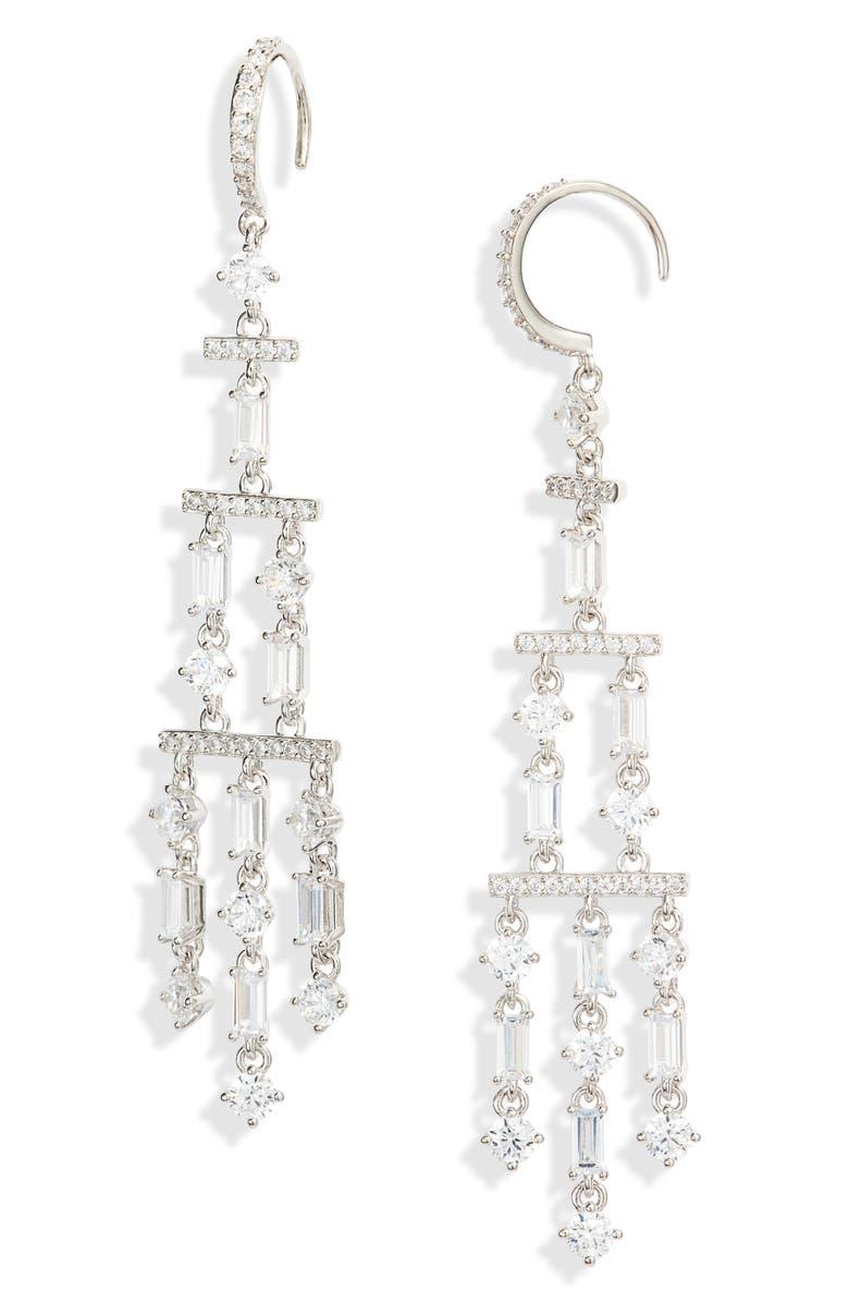 NADRI Gala Drama Chandelier Earrings, Main, color, RHODIUM