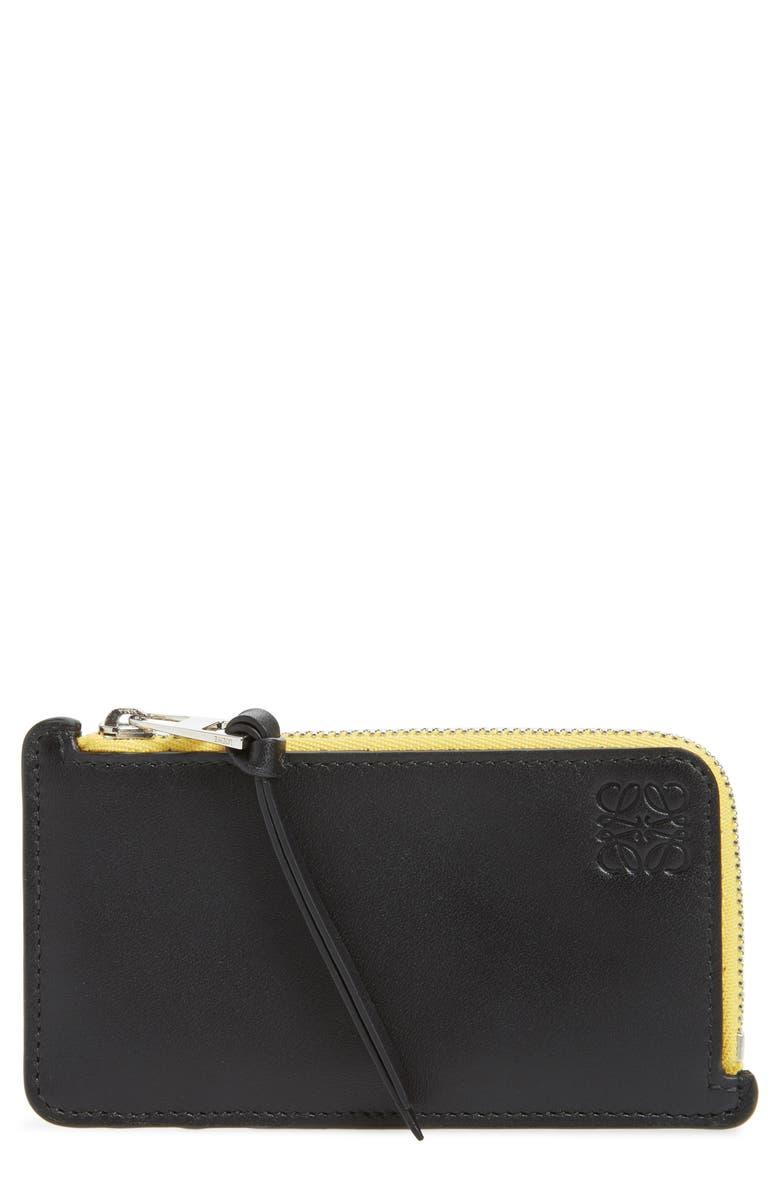LOEWE Rainbow Leather Card Case, Main, color, BLACK MULTI