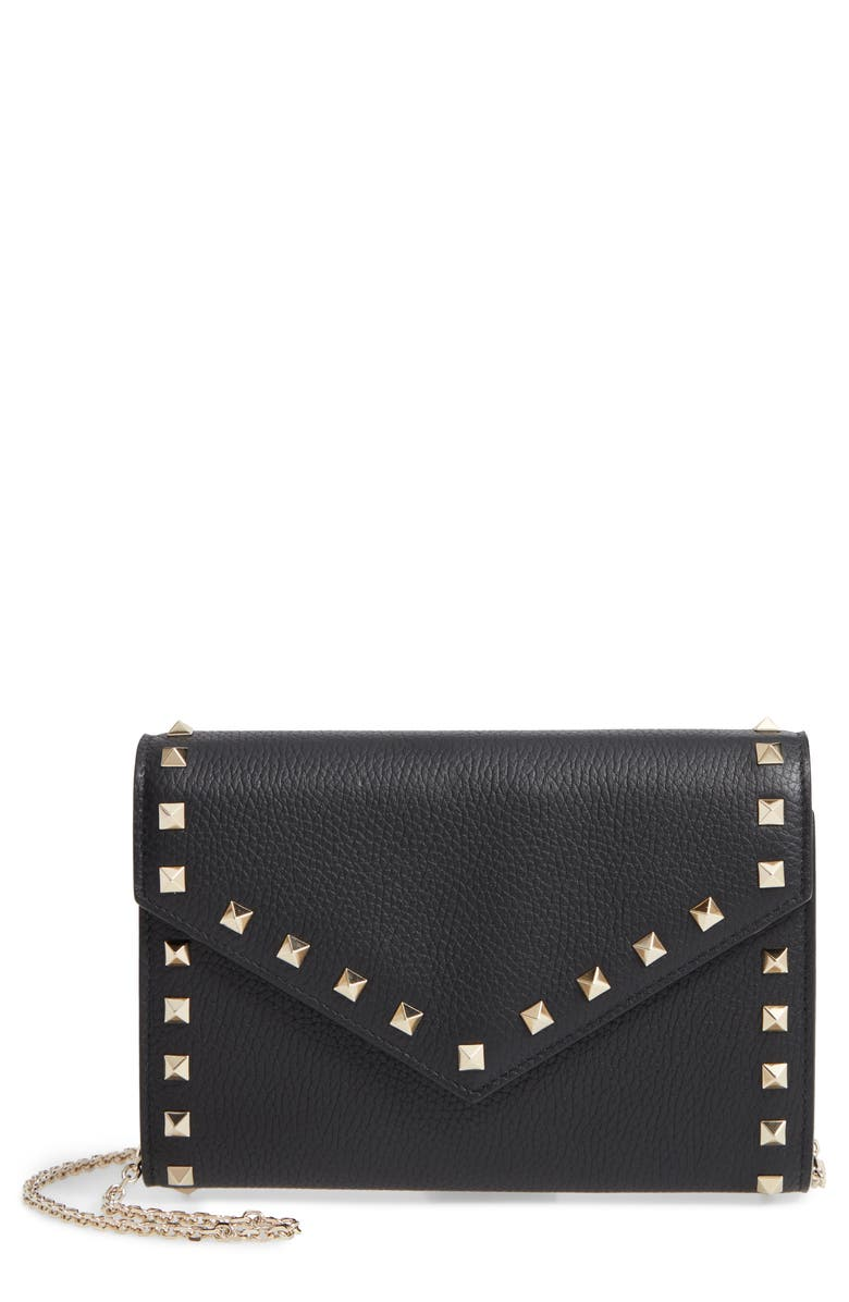 VALENTINO GARAVANI Rocktstud V-Flap Calfskin Leather Wallet on a Chain, Main, color, NERO ROCKSTUD
