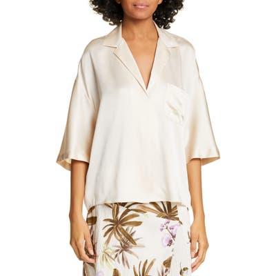 Vince Short Sleeve Silk Pajama Shirt, Beige