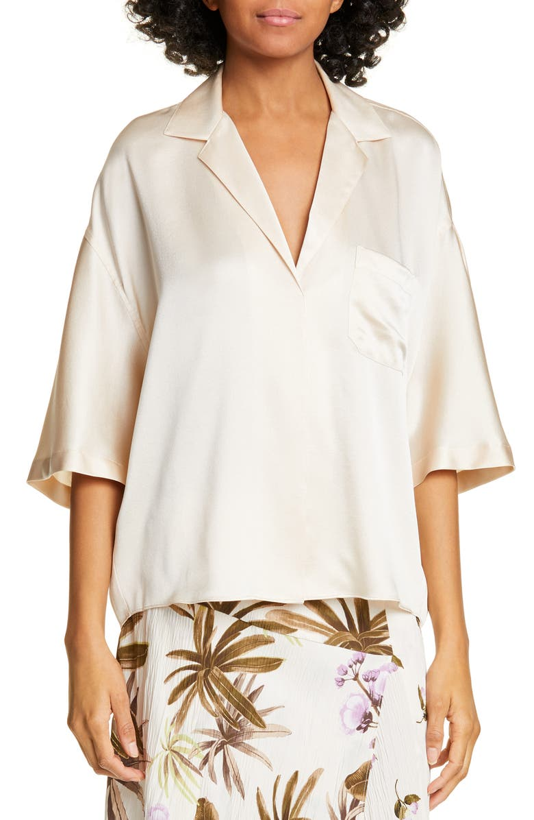 VINCE Short Sleeve Silk Pajama Shirt, Main, color, PALE ALDER