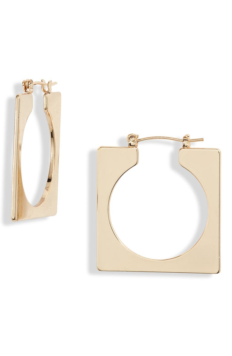 ETTIKA Geo Square Open Hoop Earrings, Main, color, GOLD