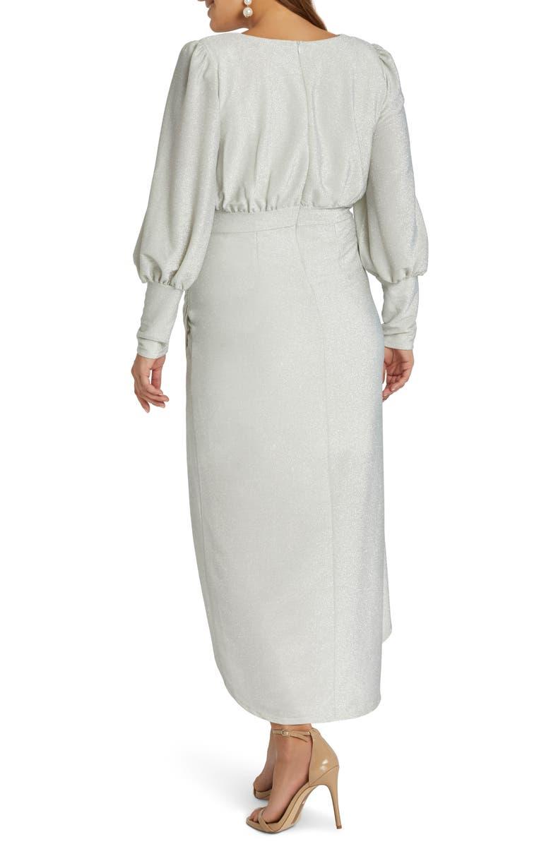 ELOQUII Sparkle Tulip Hem Evening Dress, Main, color, WHITE